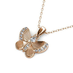 Destiny Butterfly wish necklace with Swarovski Crystals - Rose