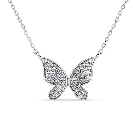 The Destiny Butterfly Hope necklace with Swarovski Crystals - White