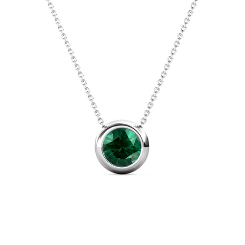 Destiny Moon May/Emerald Birthstone Necklace with Swarovski Crystals
