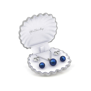 Destiny Pearl Earring & Necklace Set with Swarovski Pearls - Dark Blue