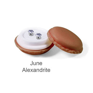 Destiny Birthstone June/Alexandrite Earrings with Swarovski Crystals in a Macaroon case
