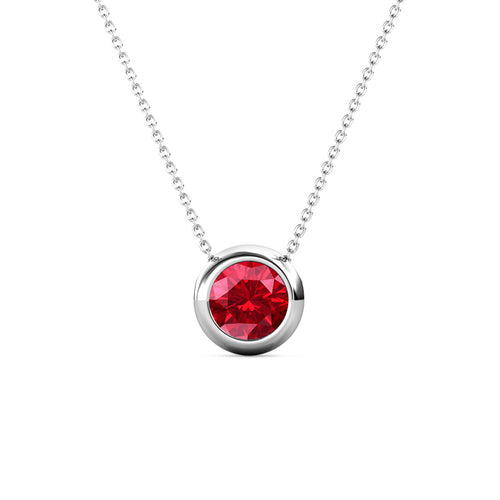 Destiny Moon July/Ruby Birthstone Necklace with Swarovski Crystals