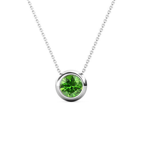 Destiny Moon August/Peridot Birthstone Necklace with Swarovski Crystals