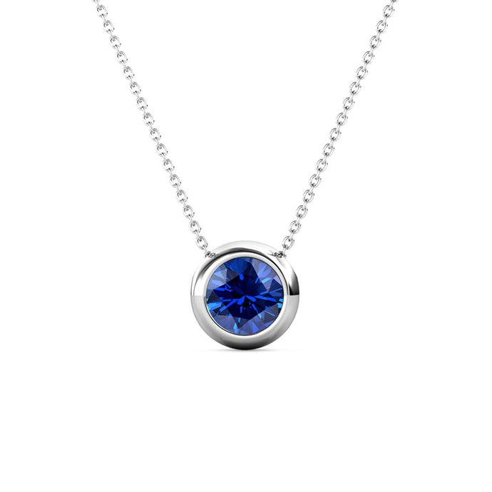 Destiny Moon September/Sapphire Birthstone Necklace with Swarovski Crystal