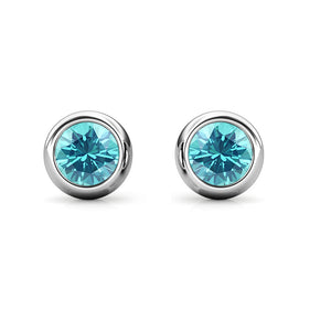 Destiny Moon March/Aquamarine Birthstone Earrings with Swarovski Crystals in a Macaroon case