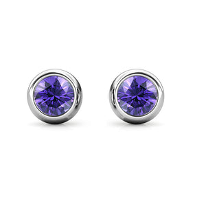 Destiny Moon February/Amethyst Birthstone Earrings with Swarovski Crystals in a Macaroon case