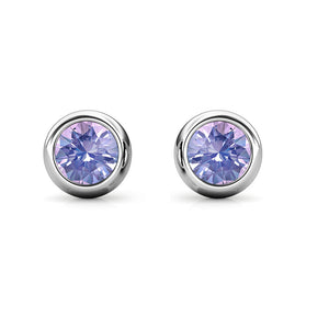 Destiny Moon June/Alexandrite Birthstone Earrings with Swarovski Crystals in a Macaroon case