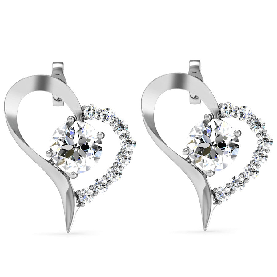 Destiny Heart Earrings with Swarovski Crystals