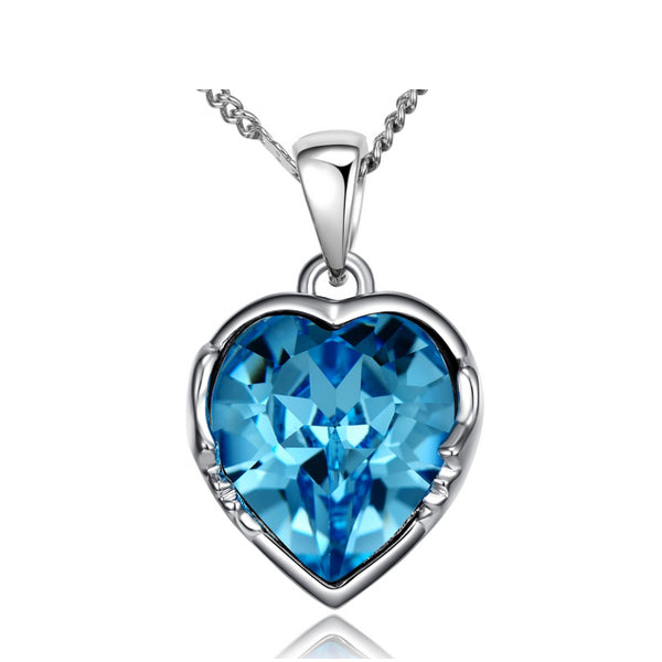 Blue Abyss Heart Necklace embellished with Swarovski Crystals