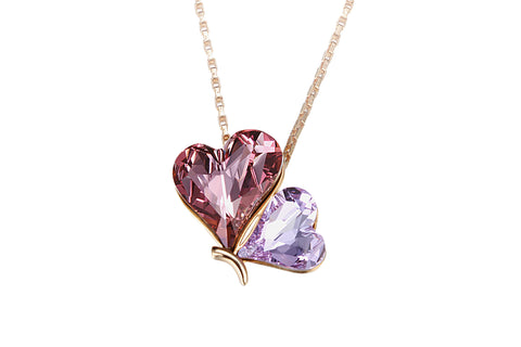 CDE  Twin Heart Necklace embellished with Swarovski Crystals