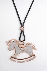 CDE Rocking Horse Necklace embellished with Swarovski Crystals
