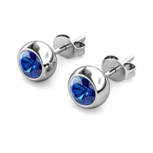 Destiny Moon September/Sapphire Birthstone Earrings with Swarovski Crystals in a Macaroon case