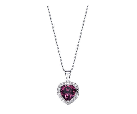 CDE 925 Sterling Silver birthstone heart necklace - February