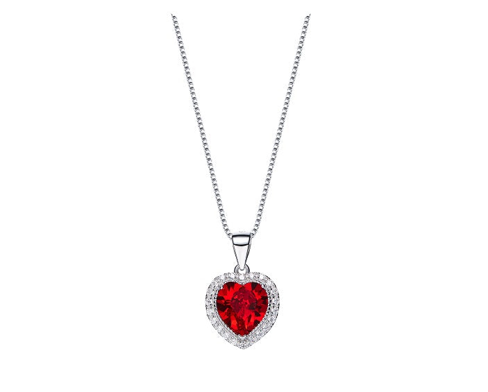 CDE 925 Sterling Silver birthstone heart necklace embellished with Swarovski crystals - January