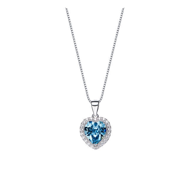 CDE 925 Sterling Silver birthstone heart necklace embellished with Swarovski crystals - March