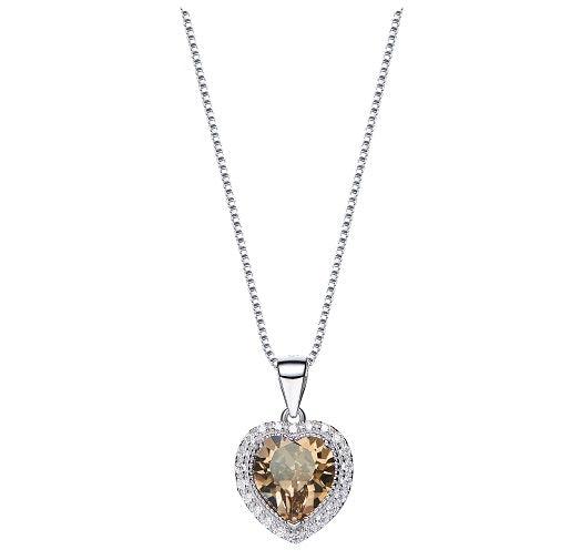 CDE 925 Sterling Silver birthstone heart necklace embellished with Swarovski crystals - November