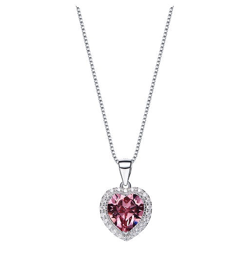 CDE 925 Sterling Silver birthstone heart necklace embellished with Swarovski crystals - October