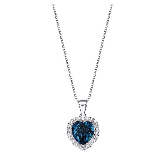 CDE 925 Sterling Silver birthstone heart necklace embellished with Swarovski crystals - September