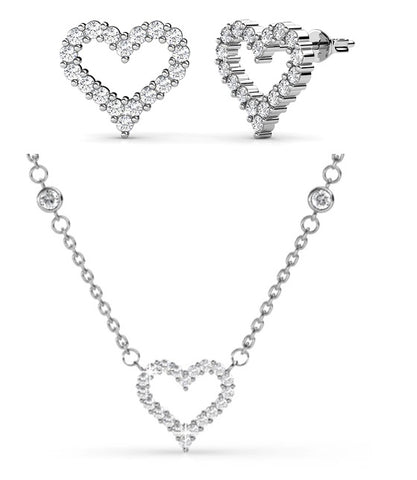 Destiny Jewellery Angels Heart Necklace and Earring set embellished with Swarovski crystals