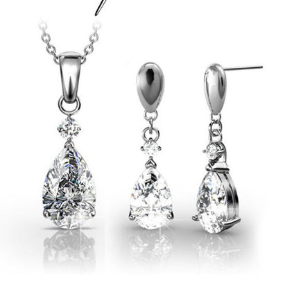 Destiny Jewellery Anne Crystal Drop Necklace and Earring Set embellished with Swarovski crystals
