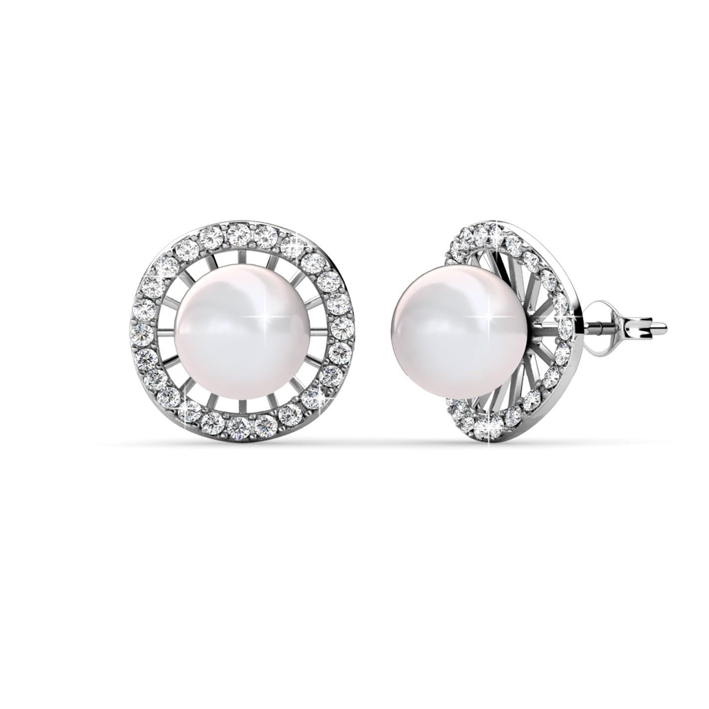 Destiny Jewellery Bella Pearl Earring embellished with Swarovski crystals