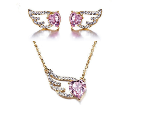 Destiny Jewellery Cupid Wing Necklace and Earring set embellished with Swarovski crystals
