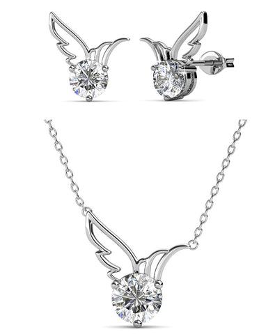 Destiny Jewellery Dove Necklace and Earring set embellished with Swarovski crystals