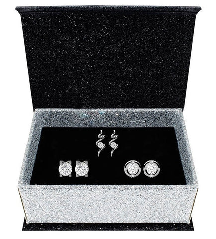 Destiny Jewellery Gabriella 925 Sterling Silver 3 pair earring set embellished with Swarovski crystals