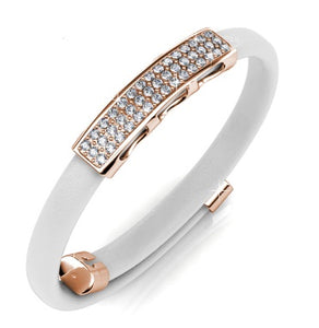 Destiny Jewellery Jackie Bracelet embellished with Swarovski crystals -White/Rose Gold