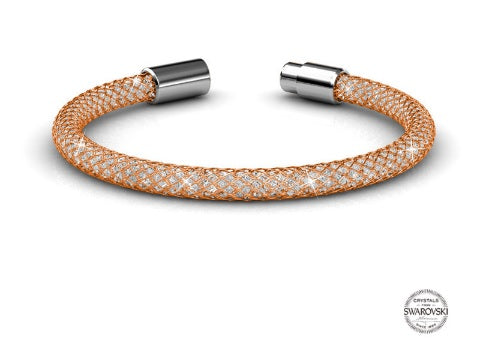 Rose gold mesh bracelet embellished with Swarovski crystals