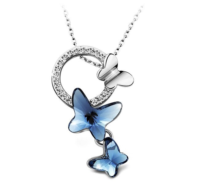 Destiny Jewellery Butterfly Dream Earring and Necklace Set Embellished with Swarovski Crystals