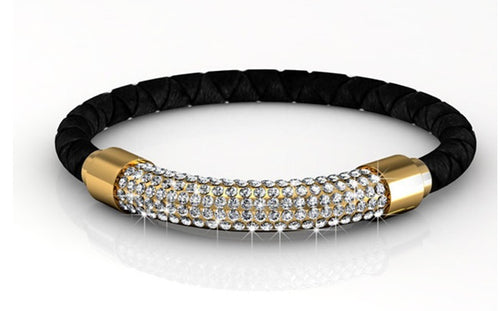 Destiny Jewellery Lush Bracelet-Black/Gold embellished with Swarovski crystals