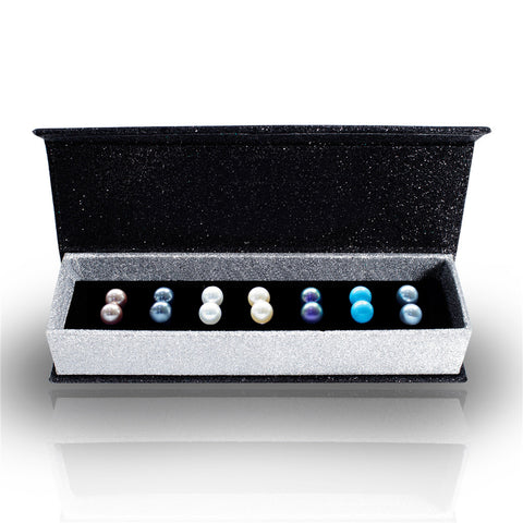 Destiny Jewellery Pearl 7 pair earring set embellished with Swarovski crystals