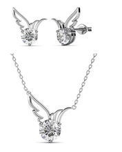 Load image into Gallery viewer, Destiny Dove Necklace & Earring Set with Swarovski Crystals