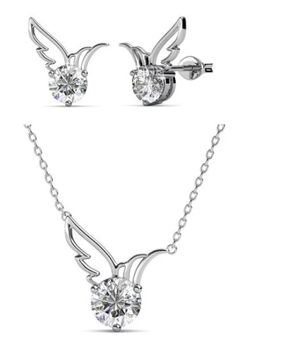 Destiny Dove Necklace & Earring Set with Swarovski Crystals