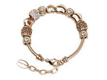 Load image into Gallery viewer, Destiny Ava Charm Bracelet with Swarovski Crystals - Rose Gold