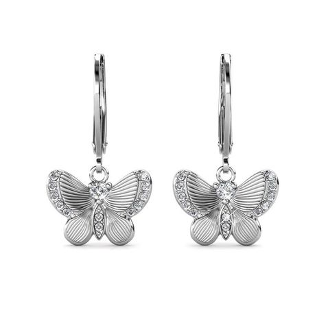 Destiny Butterfly wish earring with Swarovski Crystals – White