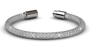 Destiny Jewellery Silver Mesh Bracelet with embellished with Swarovski crystals
