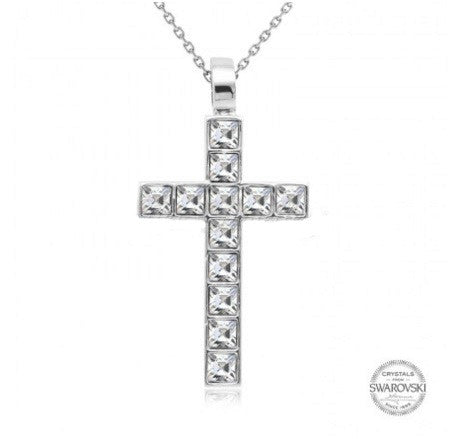 Cross necklace embellished with Swarovski crystals