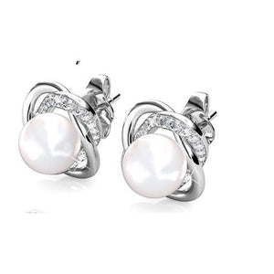 Destiny Pearl Flower Earrings with Swarovski Crystals