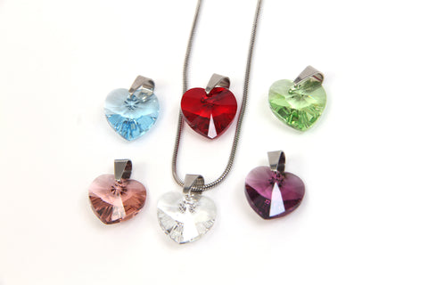 Crystal Rock 6 Heart Pendant Set with Swarovski Crystals