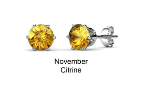 Destiny Birthstone November/Citrine Earrings embellished with Swarovski Crystals in a Macaroon case