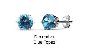 Destiny Birthstone December/Blue Topaz Earrings with Swarovski Crystals in a Macaroon case