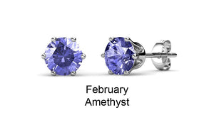 Destiny Birthstone February/Amethyst Earrings with Swarovski Crystals in a Macaroon case