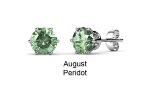 Destiny Birthstone August/Peridot Earrings with Swarovski Crystals in a Macaroon case