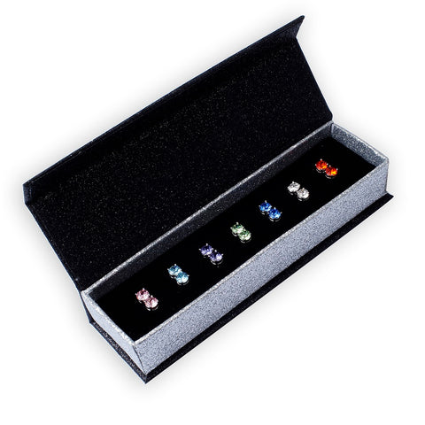 Destiny Jewellery 7 pair earring set embellished with Swarovski crystals