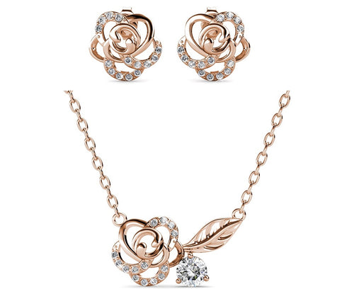 Destiny Blooming Rose Set With Crystals From Swarovski® - Rose gold