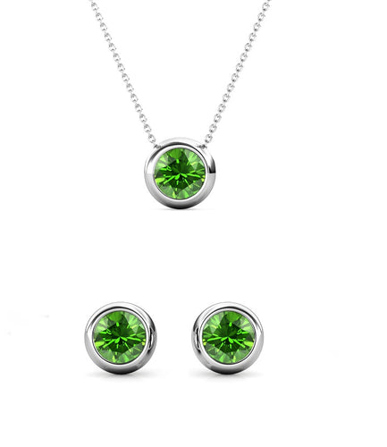 Destiny Moon August/Peridot Birthstone Earrings with Swarovski Crystals in a Macaroon case