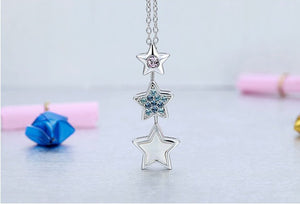 CDE Stars pendant with rhodium plated necklace embellished with Swarovski crystals