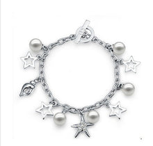 Load image into Gallery viewer, CDE Glass pearl bracelet with rhodium plating embellished with Swarovski crystals